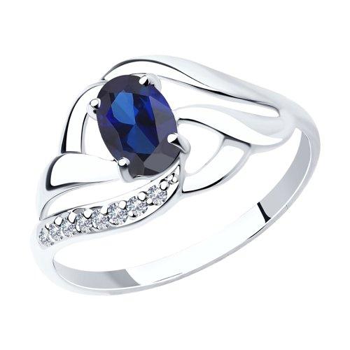 Кольцо из белого золота с синим корундом (синт.) и фианитами