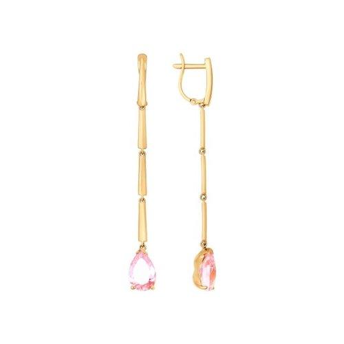 Серьги длинные SOKOLOV из золота с розовыми фианитами