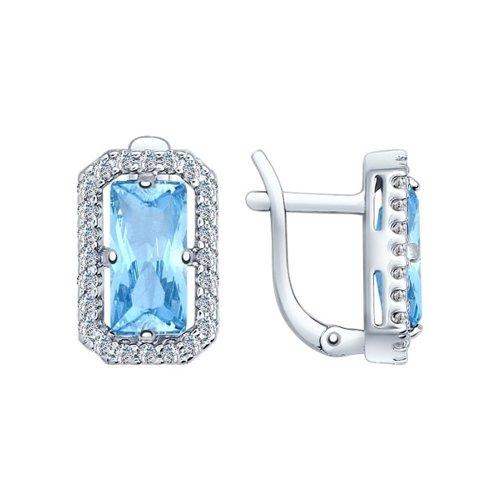Серьги из серебра с голубыми ситаллами и фианитами