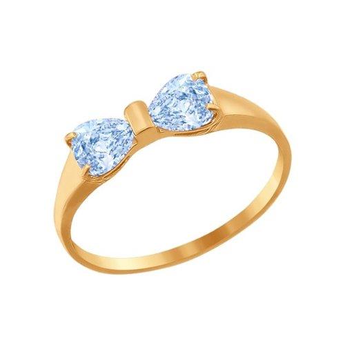 Фото - Кольцо SOKOLOV из золота с голубыми фианитами кольцо бантик с подвеской с фианитами из красного золота