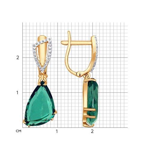 Серьги длинные из золота с кварцем и фианитами (724247) - фото №2
