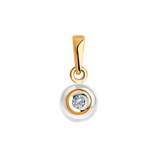 Золотая подвеска с бриллиантами и белой керамикой (6035011) - фото