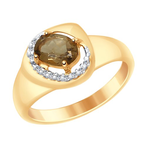 Кольцо из серебра с раухтопазом и фианитами (92011652) - фото