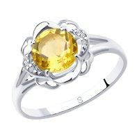 Кольцо из серебра с цитрином и фианитами