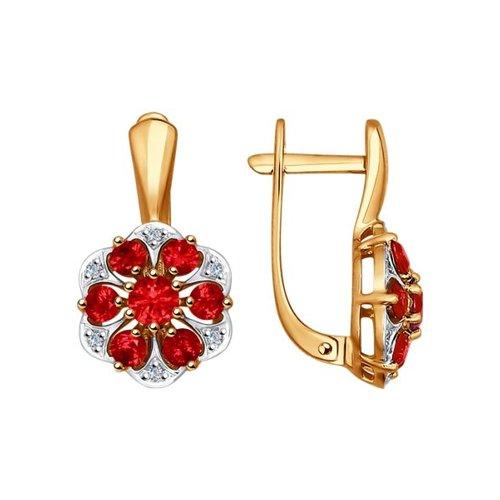 Серьги из золота с бриллиантами и корундами рубиновыми (синт.)