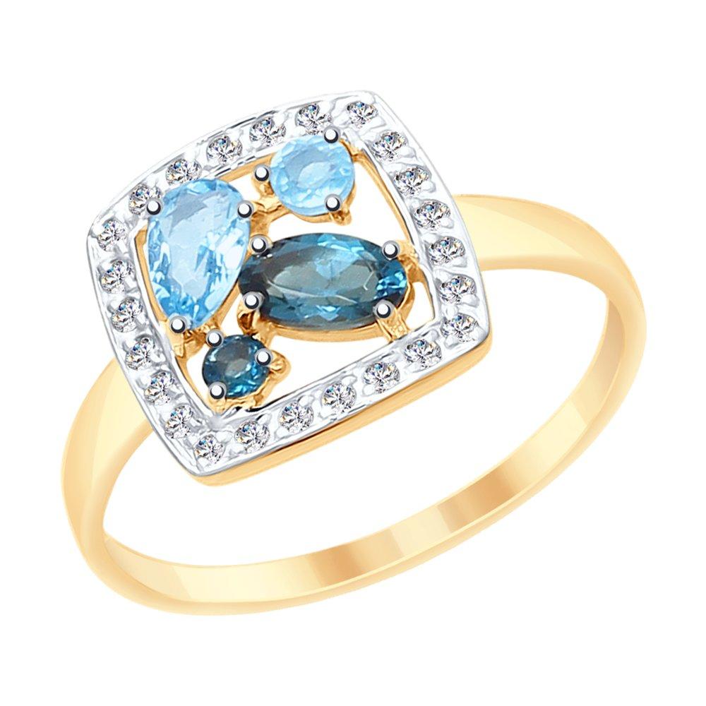 Кольцо SOKOLOV из золота с голубыми и синими топазами и фианитами фото