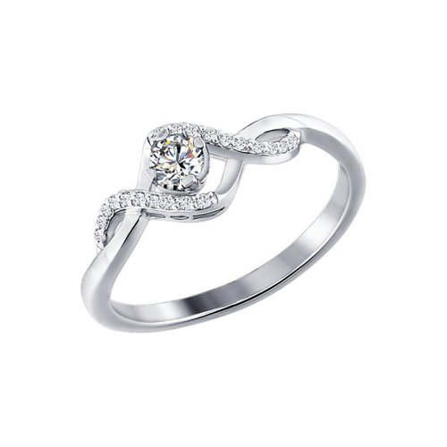 Белое кольцо с бриллиантами SOKOLOV