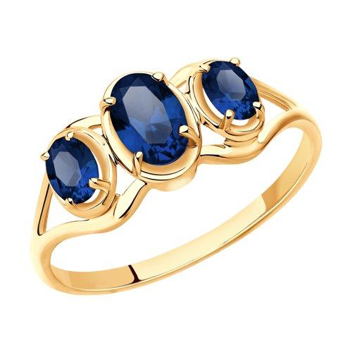 Кольцо из золота с синими корундами (715410) - фото