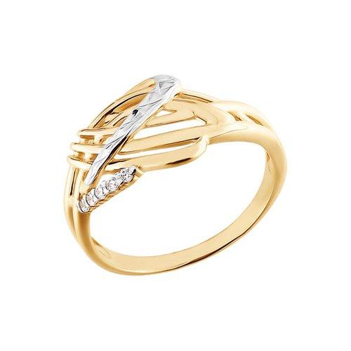 Золотое кольцо с алмазной гранью SOKOLOV