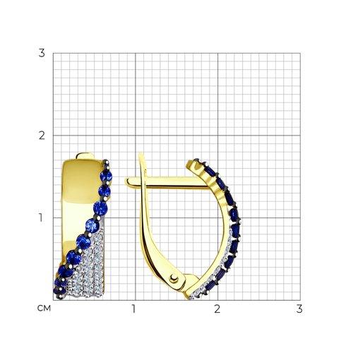 Серьги из желтого золота с бесцветными и синими фианитами (027433-2) - фото №2