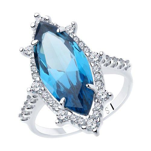 Кольцо из серебра с синим ситаллом и фианитами (92011886) - фото