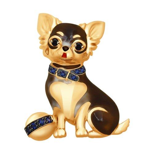 Брошь «Собачка» из золота с черными бриллиантами и синими корундами
