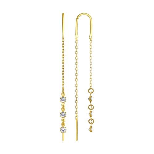 Серьги из желтого золота (022807-2) - фото