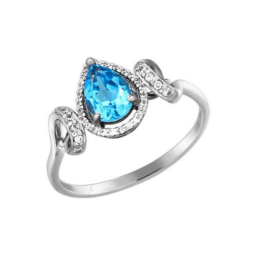 Красивое кольцо с топазом в окружении фианитов SOKOLOV