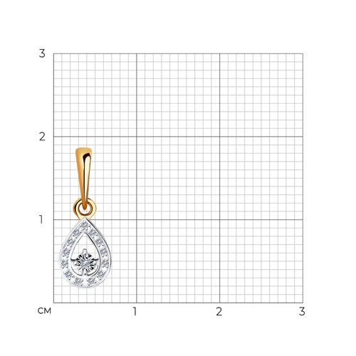 Подвеска из комбинированного золота с бриллиантами 1030782 SOKOLOV фото 2