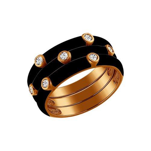 Фото - Трехрядное чёрное кольцо SOKOLOV из золочёного серебра с эмалью трехрядное чёрное кольцо из золочёного серебра с эмалью