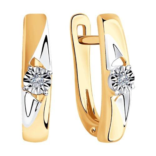 Серьги из комбинированного золота с бриллиантами (1021330) - фото №2