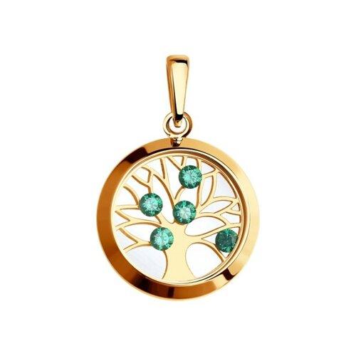 Подвеска из золота с минеральным стеклом и зелеными фианитами