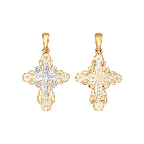 Крест из золота с эмалью с фианитами