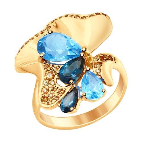 Кольцо SOKOLOV из золота с голубыми и синими топазами и фианитами кольцо из золота с топазами и фианитами
