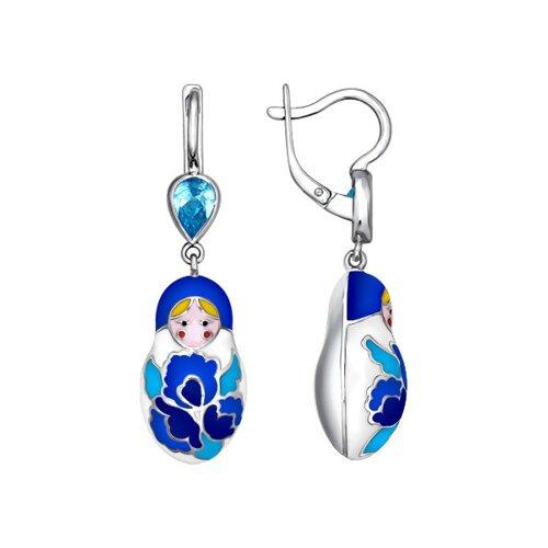 Серьги-матрёшки с голубыми узорами