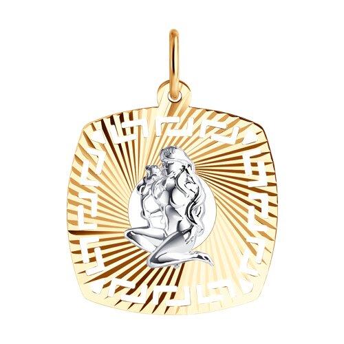 Подвеска из комбинированного золота с алмазной гранью 031639 sokolov фото