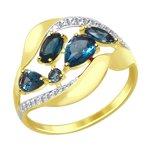 Кольцо из желтого золота с синими топазами и фианитами