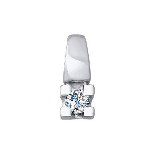 Подвеска из белого золота с алмазной гранью с бриллиантом 1030705 SOKOLOV фото
