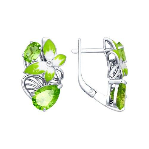 Серьги серебряный цветок с эмалью и хризолитами SOKOLOV серьги серебряный цветок с эмалью и хризолитами sokolov