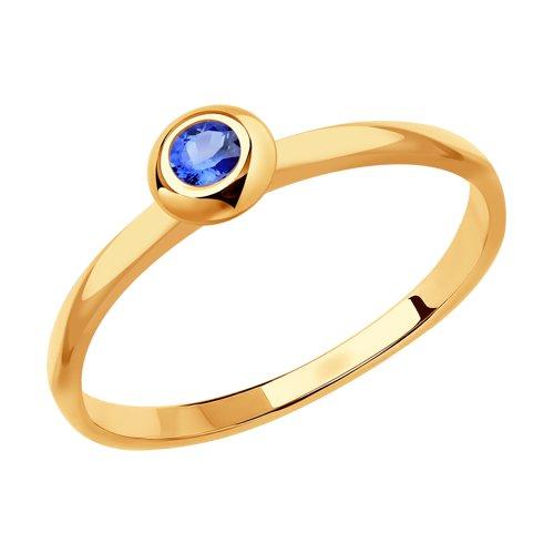 Кольцо из золота с голубым сапфиром (2011108) - фото