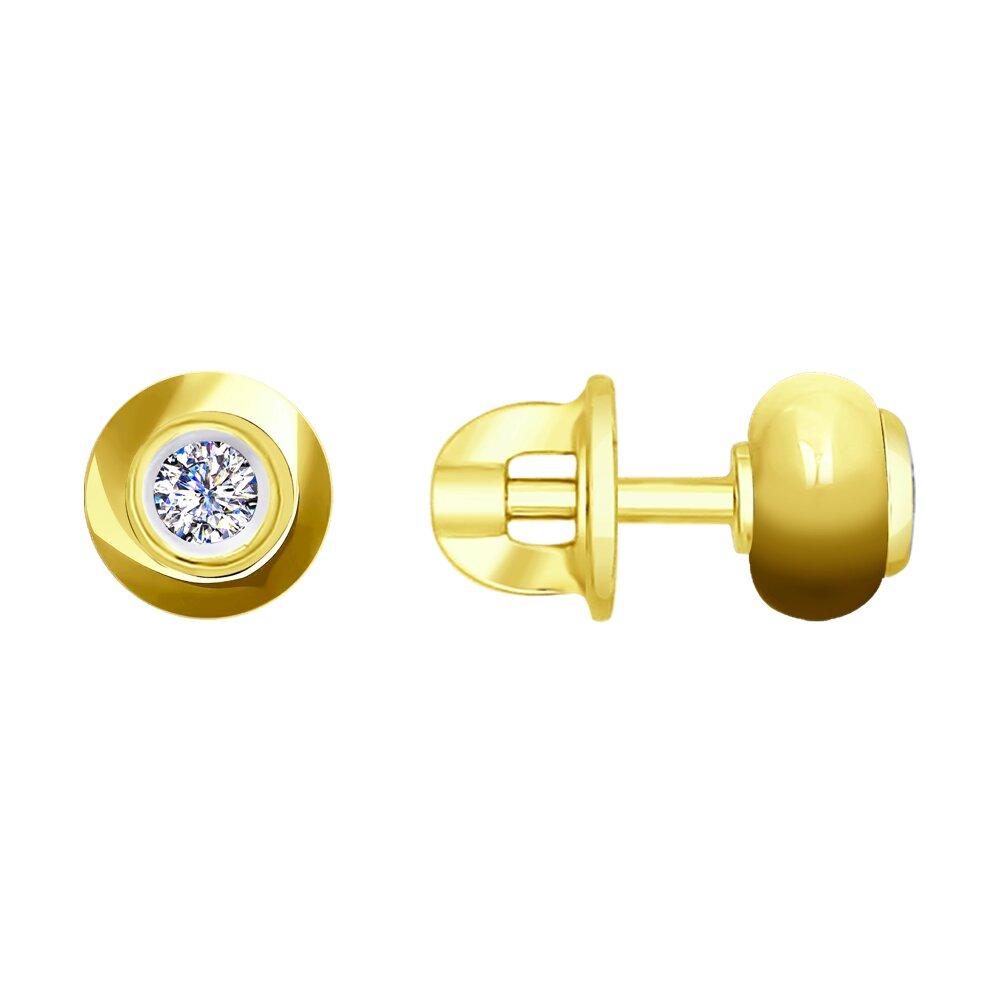 Пусеты SOKOLOV из желтого золота с бриллиантами и керамикой фото