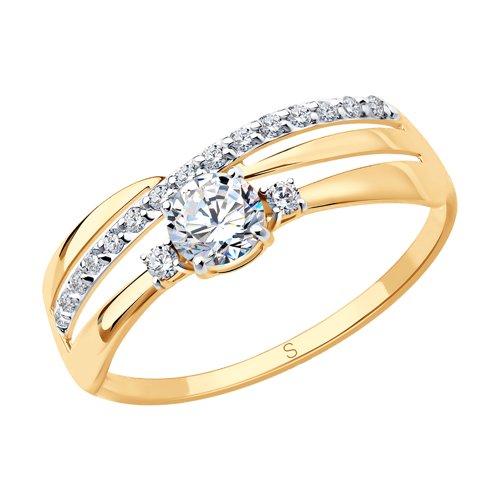 Кольцо из золота с фианитами (016918) - фото
