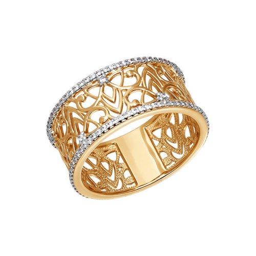 Ажурное широкое кольцо SOKOLOV из золота с фианитами