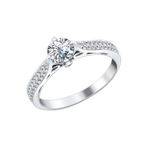 Помолвочное кольцо из белого золота с бриллиантами (9010017) - фото
