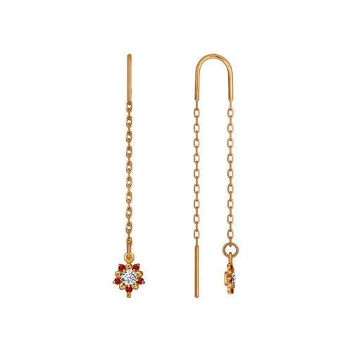 Серьги-цепочки SOKOLOV из золота с коричневыми фианитами