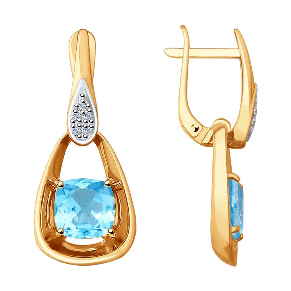 Серьги SOKOLOV из золота с бриллиантами и топазами цена 2017