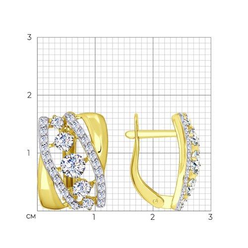 Серьги из желтого золота с фианитами (026965-2) - фото №2