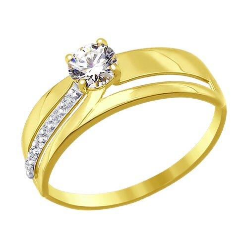 Кольцо из желтого золота с фианитами (016876-2) - фото