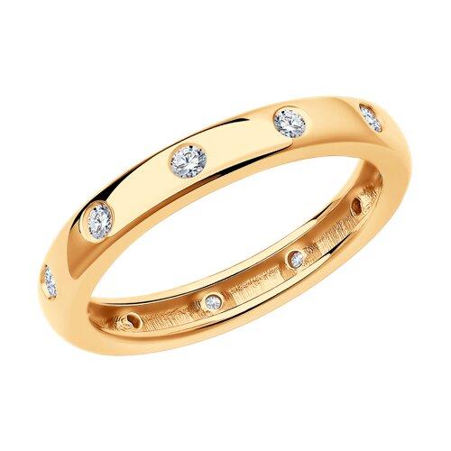 Кольцо из золочёного серебра с фианитами (93010726) - фото