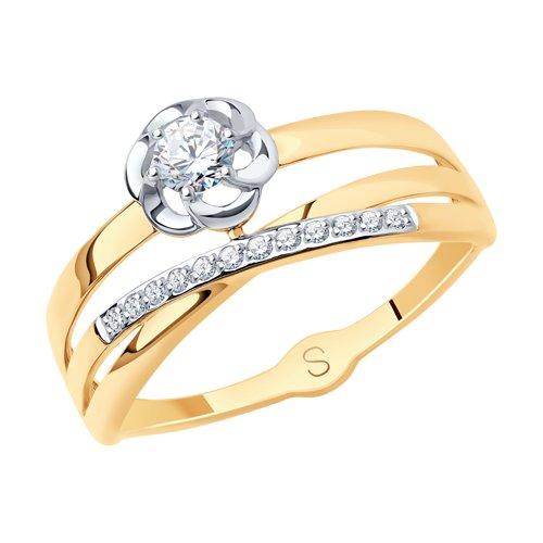 Кольцо из золота с фианитами (017922) - фото