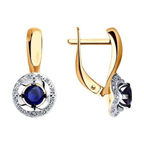 Серьги из комбинированного золота с бриллиантами и синими корундами (6022151) - фото