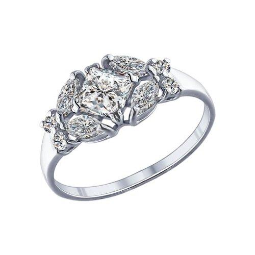 Кольцо из серебра с фианитами (94011751) - фото