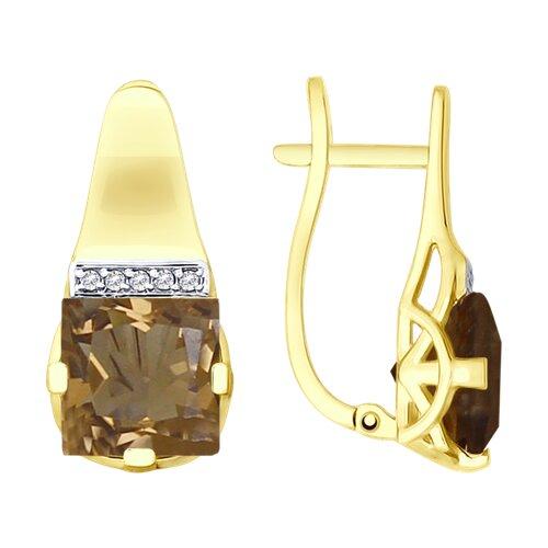 Серьги из желтого золота с раухтопазами и фианитами (725539-2) - фото
