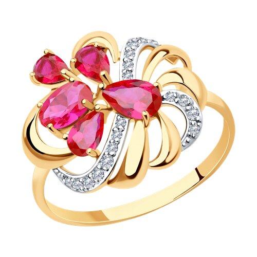 Кольцо из золота с красными корундами (синт.) и фианитами (714752) - фото