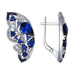 Серьги из серебра с бесцветными и синими фианитами