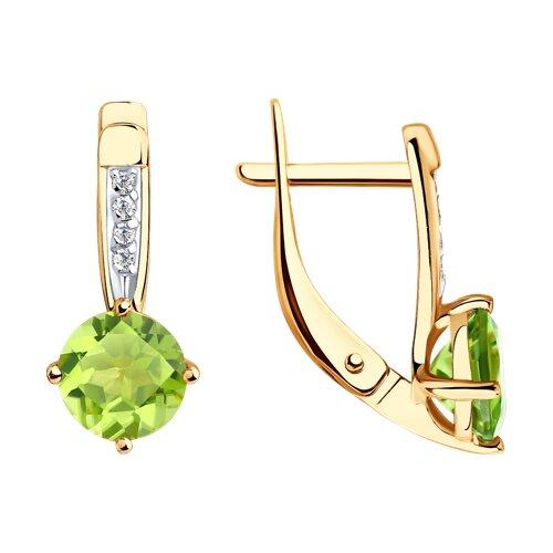 Серьги из золота с хризолитами и фианитами (725793) - фото