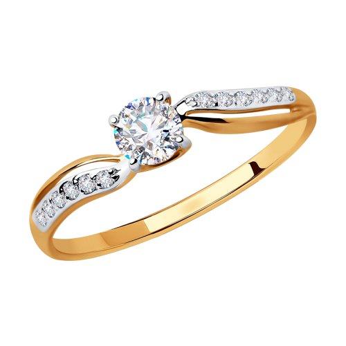 Кольцо из золота с фианитами (018457) - фото