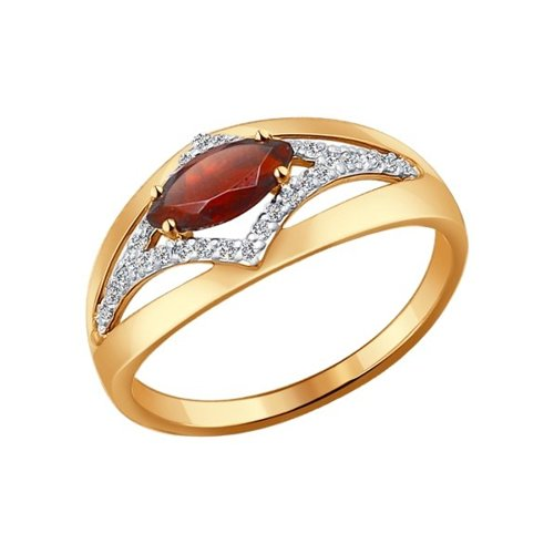 Золотое кольцо с гранатом SOKOLOV золотое кольцо ювелирное изделие 01k625042
