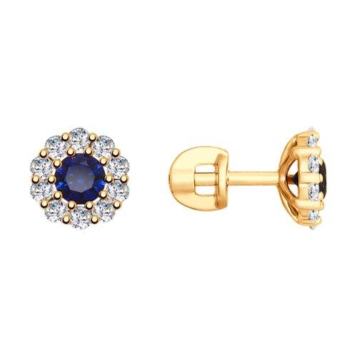 Серьги из золота с синими корунд (синт.) и фианитами 725724 SOKOLOV фото