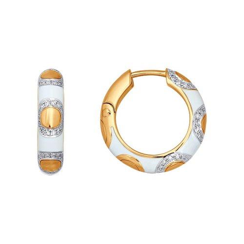 Серьги-кольца с эмалью и бриллиантами SOKOLOV